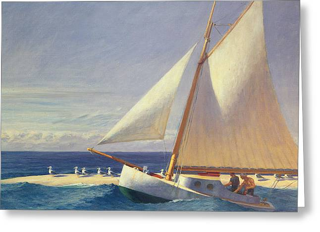 Blue Sailboat Greeting Cards - Sailing Boat Greeting Card by Edward Hopper