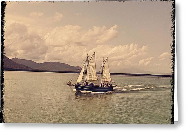 Yacht Greeting Cards - Sailing boat Greeting Card by Girish J