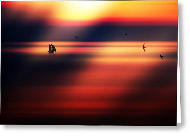 Marek Czaja Greeting Cards - Sailing boat in the sunset Greeting Card by Marek Czaja