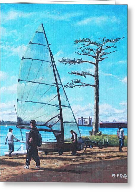 Southampton Paintings Greeting Cards - Sailing boat preparation at Weston Shore Southampton Greeting Card by Martin Davey