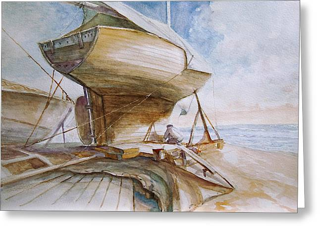 Wooden Ship Paintings Greeting Cards - Sailing boat preparing Greeting Card by Timo Luomanpera