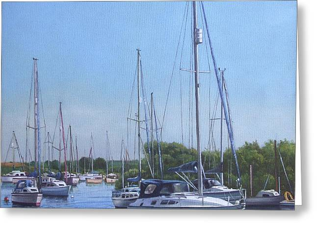 sailing boats at christchurch harbour Greeting Card by Martin Davey
