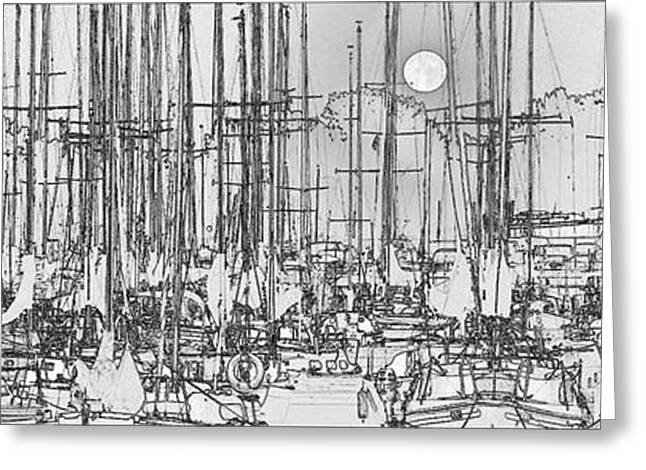 Sailing Boats In Marina With Full Moon Greeting Card by Peter v Quenter