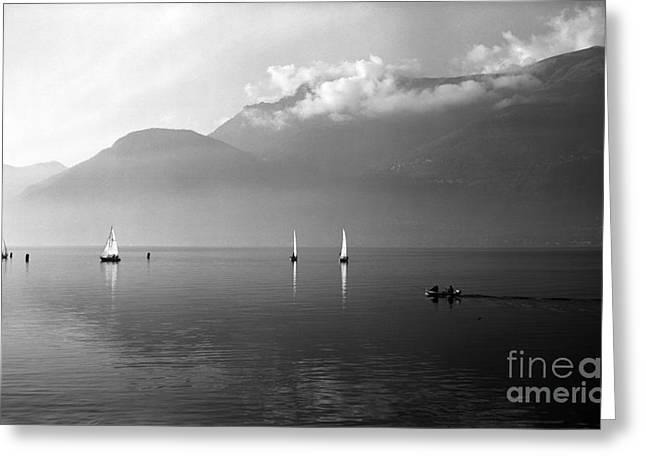 Bellano Greeting Cards - Sailing boats on Como Lake Greeting Card by Riccardo Mottola