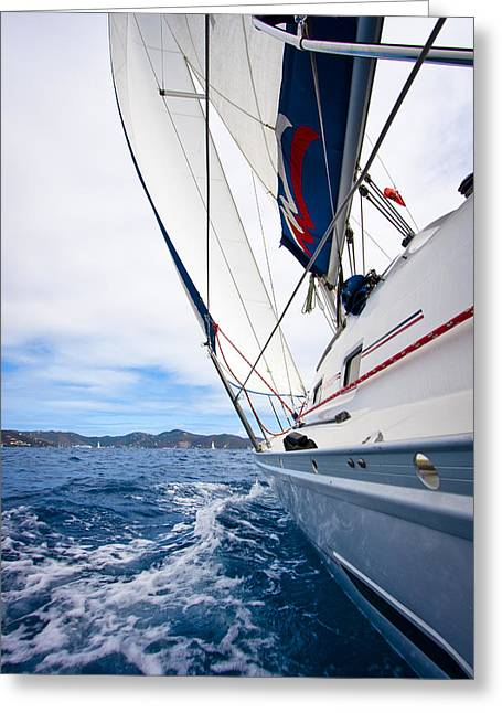 Atlantic Beaches Greeting Cards - Sailing BVI Greeting Card by Adam Romanowicz