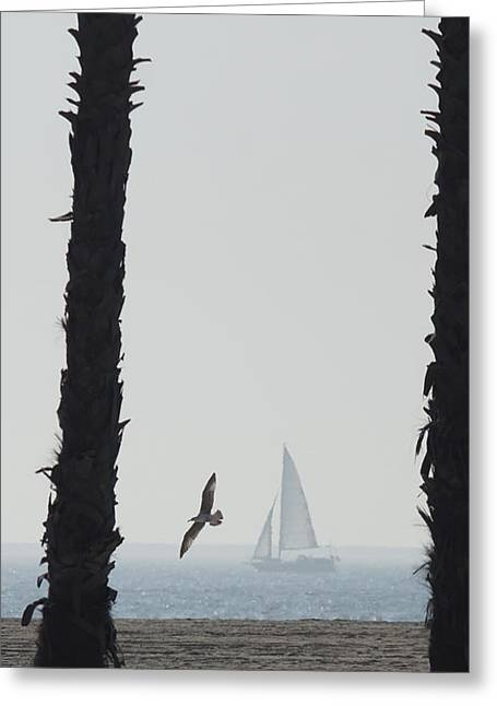 Foggy Ocean Greeting Cards - Sailing By 2 Greeting Card by Ernie Echols