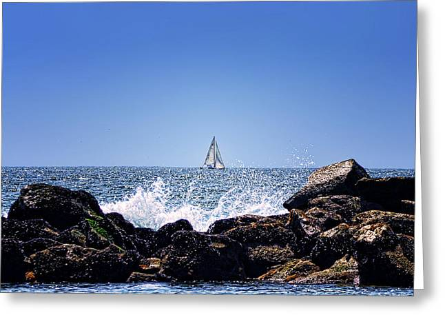 Water Scape Greeting Cards - Sailing by Greeting Card by Camille Lopez