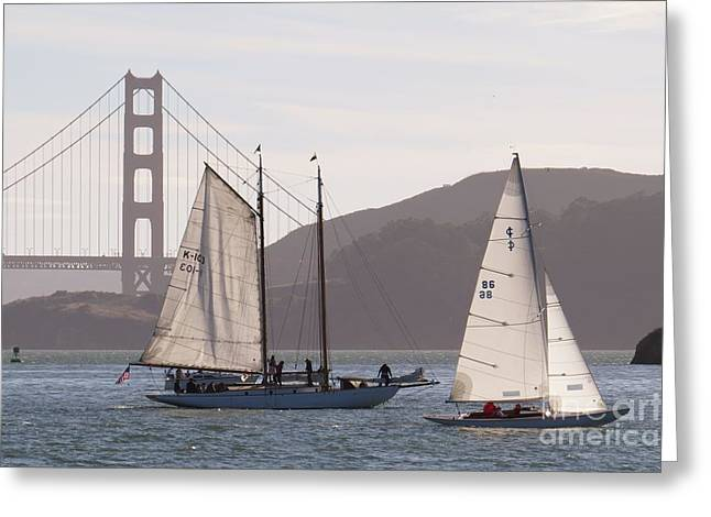 Sausalito Greeting Cards - Sailing by the Golden Gate Bridge Greeting Card by Scott Cameron