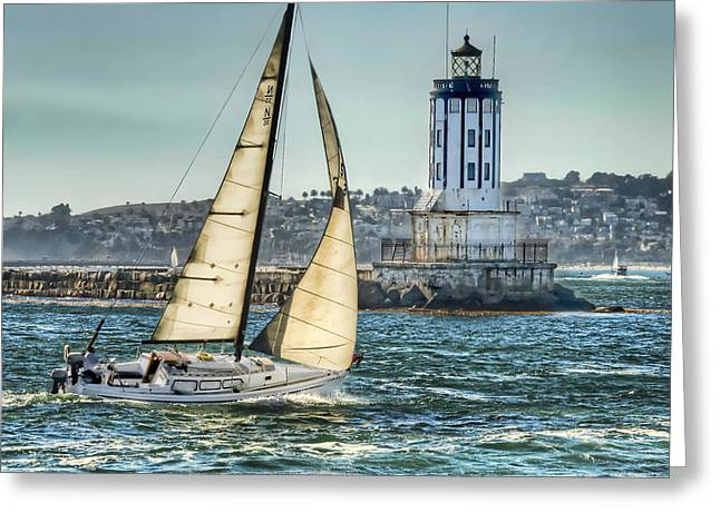Pacific Ocean Prints Greeting Cards - Sailing by the Lighthouse Greeting Card by Nick Carlson