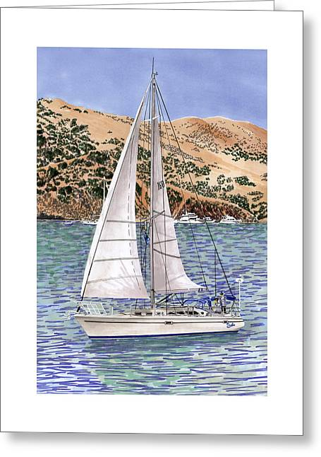 Best Sellers -  - Sailboats In Harbor Greeting Cards - Sailing Catalina Island Sailing Sunday Greeting Card by Jack Pumphrey