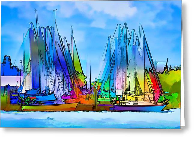 Surreal Geometric Greeting Cards - Sailing Club Abstract Greeting Card by Pamela Blizzard
