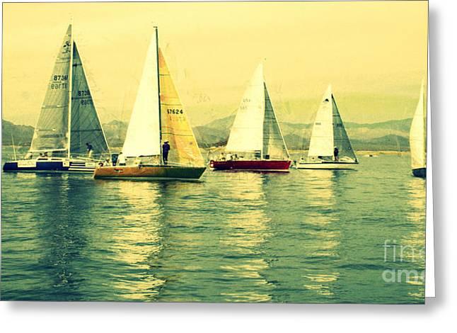 Julielueders Greeting Cards - Sailing Day Regatta 2 Greeting Card by Julie Lueders