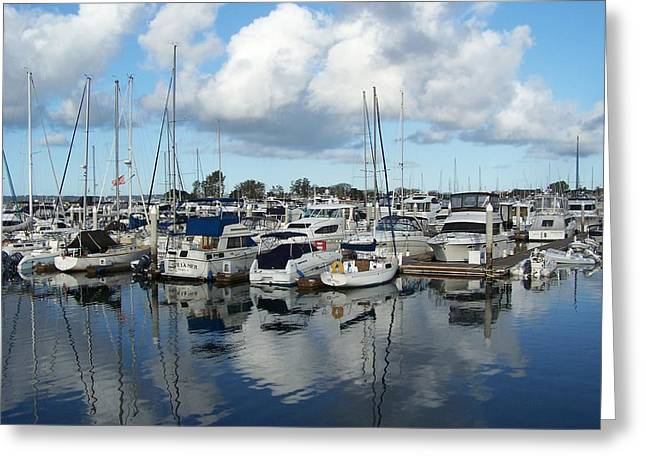 Boats Reflecting In Water Greeting Cards - Sailing Day Greeting Card by Sharon Sammon