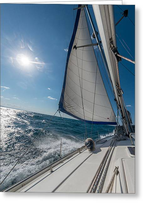 Sailboats In Water Greeting Cards - Sailing Greeting Card by Dobromir Dobrinov