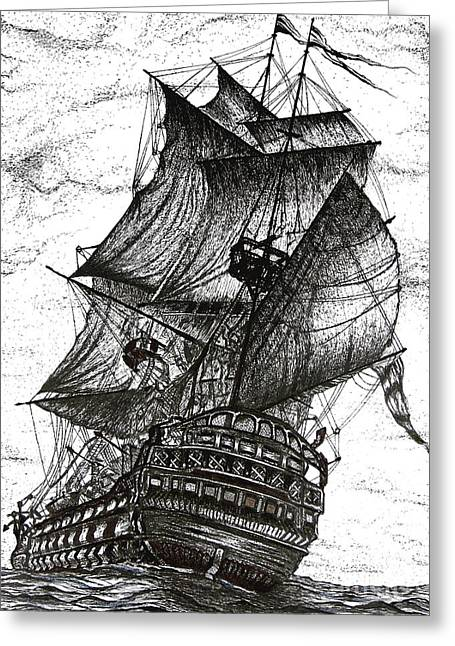 Pirate Ships Drawings Greeting Cards - Sailing Drawing Pen and Ink in Black and White Greeting Card by Mario  Perez