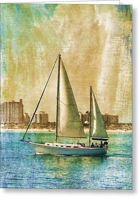 Masts Greeting Cards - Sailing Dreams On A Summer Day Greeting Card by Deborah Benoit