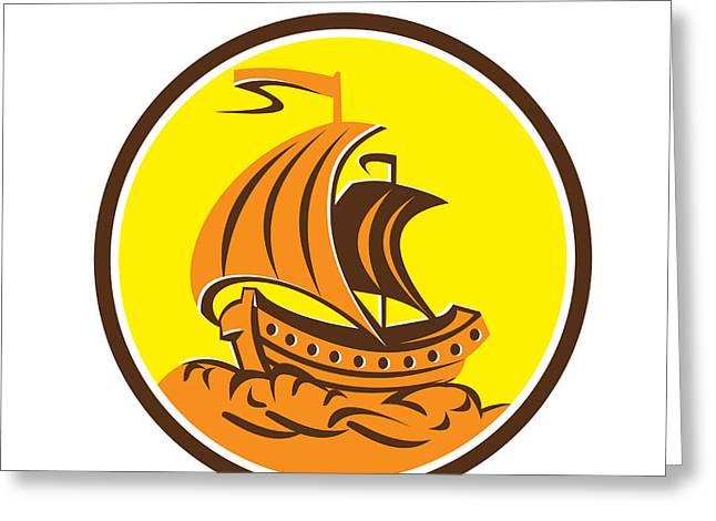 Tall Ship Greeting Cards - Sailing Galleon Ship Circle Retro Greeting Card by Aloysius Patrimonio