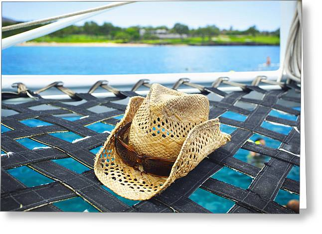 Sun Hat Greeting Cards - Sailing Hat Greeting Card by Kicka Witte