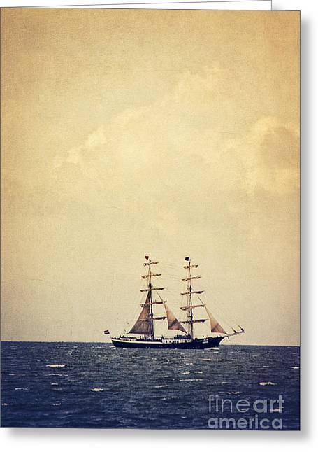 Sailing Ship Mixed Media Greeting Cards - Sailing II Greeting Card by Angela Doelling AD DESIGN Photo and PhotoArt
