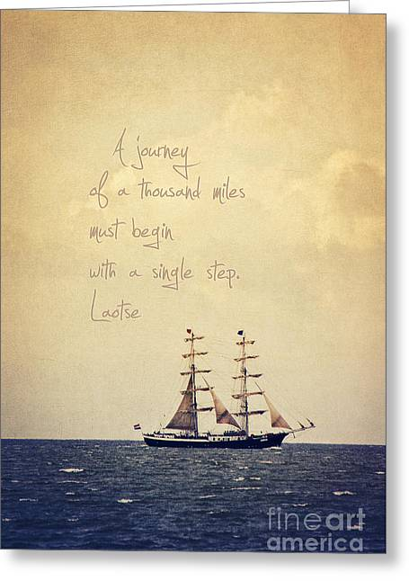 Sailing Ship Mixed Media Greeting Cards - Sailing II with a quote Greeting Card by Angela Doelling AD DESIGN Photo and PhotoArt