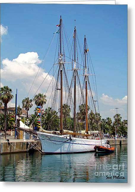 Blue Sailboats Greeting Cards - Sailing in Barcelona Greeting Card by Sue Melvin