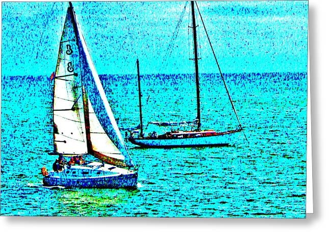 Sailboats In Water Greeting Cards - Sailing in Blue Water Greeting Card by Joseph Coulombe