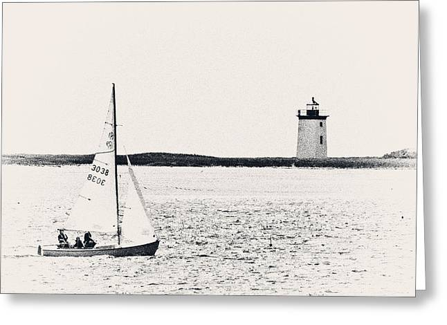 Sailboats In Water Greeting Cards - Sailing In Cape Cod Greeting Card by Karol  Livote