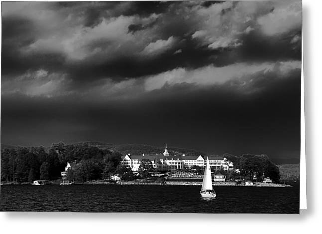 Aderondacks Greeting Cards - Sailing in front of the Sagamore Greeting Card by David Patterson