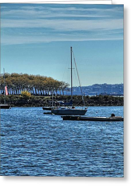 Boats In Harbor Greeting Cards - Sailing In New York City Greeting Card by Dan Sproul