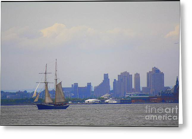 Sailboats In Harbor Greeting Cards - Sailing in New York Harbor Greeting Card by  Photographic Art and Design by Dora Sofia Caputo