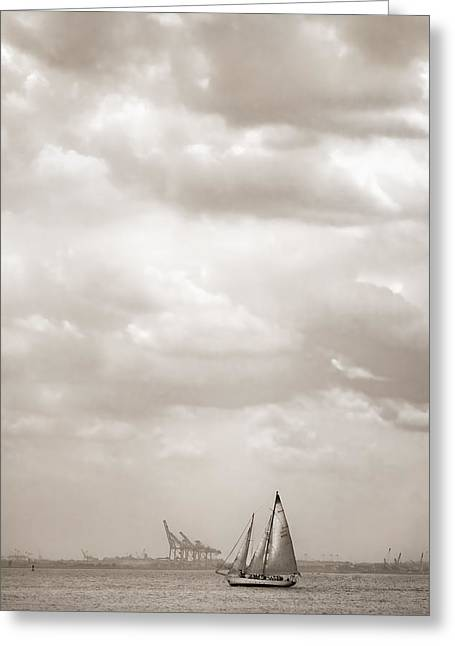 Ship In Sepia Greeting Cards - Sailing in New York Harbor - Nautical Greeting Card by Gary Heller