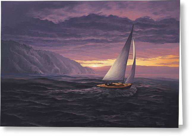 Sailing In Paradise - Big Sur Greeting Card by Del Malonee