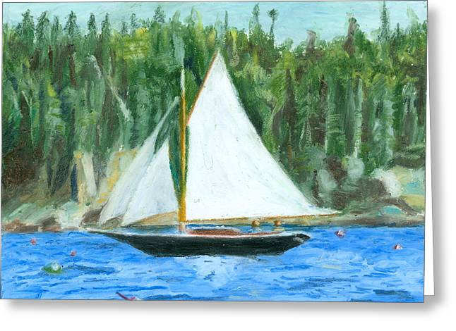 New England Ocean Drawings Greeting Cards - Sailing in Southwest Harbor Greeting Card by Dominic White