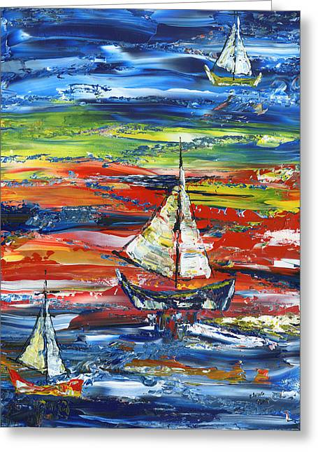 Blue Sailboats Greeting Cards - Sailing In Sunset Greeting Card by Claire Gagne