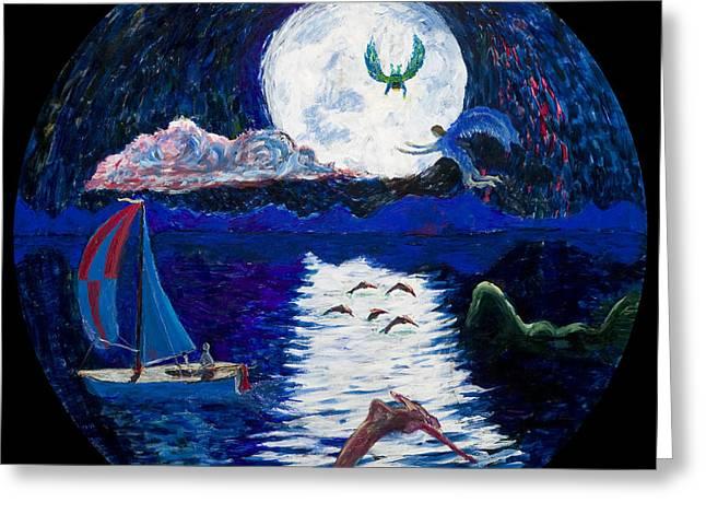 Angel Mermaids Ocean Greeting Cards - Sailing in the Moonlight Greeting Card by Walt Brodis