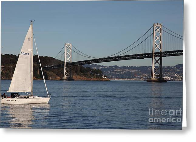 Yerba Beuna Island Greeting Cards - Sailing in The San Francisco Bay - 5D20830 Greeting Card by Wingsdomain Art and Photography