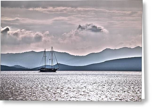 Boat Cruise Greeting Cards - Sailing in the sunset Greeting Card by Delphimages Photo Creations