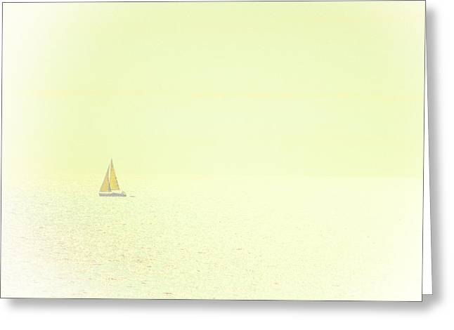 Sailing Boat Greeting Cards - Sailing into silence Greeting Card by Constance Fein Harding