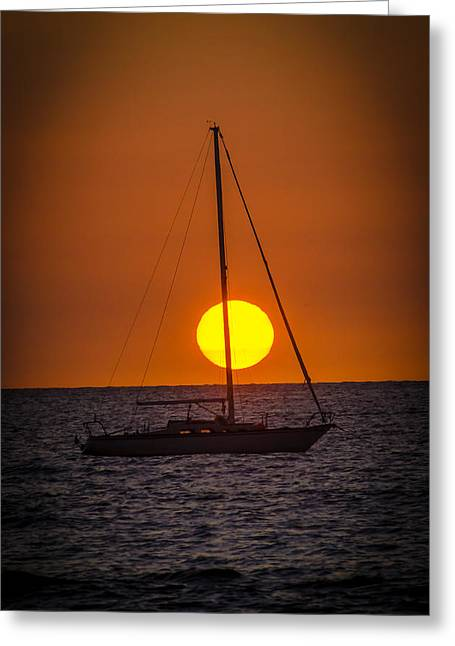 Pacific Ocean Prints Greeting Cards - Sailing into Sunset Greeting Card by Puget  Exposure