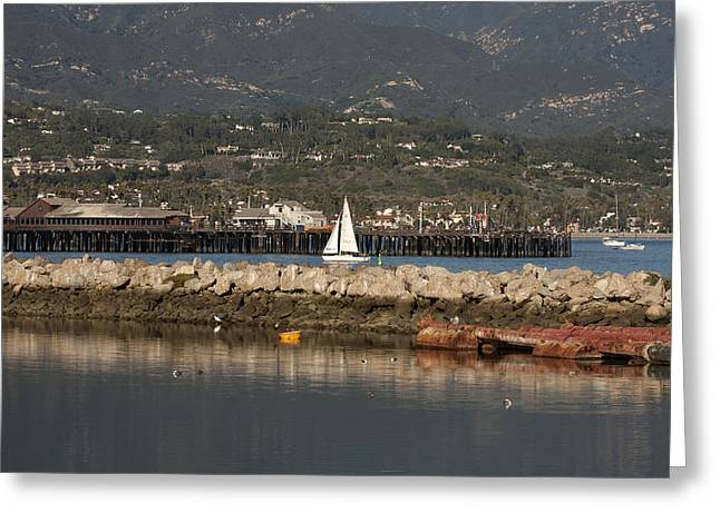 Santa Barbara Pier Greeting Cards - Sailing Into the Harbor Greeting Card by Art Block Collections