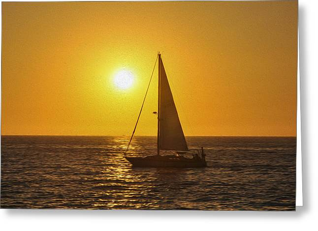 Boat Cruise Digital Greeting Cards - Sailing into the sunset Greeting Card by Aged Pixel