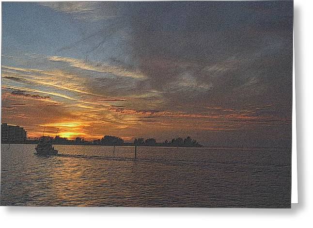 Sunset Framed Prints Drawings Greeting Cards - Sailing Into The Sunset Greeting Card by Richard Zentner