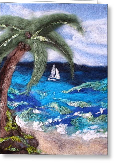 Needle Tapestries - Textiles Greeting Cards - Sailing Greeting Card by Kyla Corbett