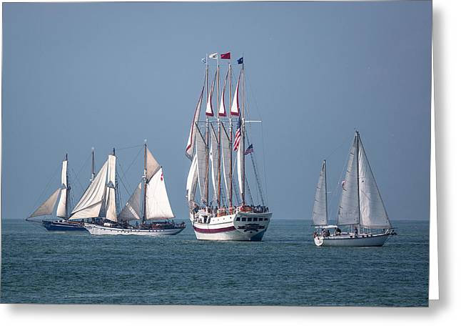 Wooden Ship Greeting Cards - Sailing Lake Erie Greeting Card by Dale Kincaid