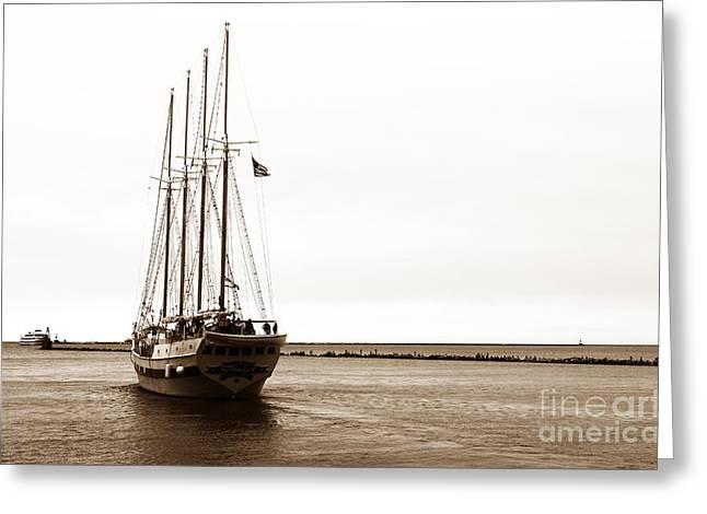 Best Sellers -  - Sailboat Images Greeting Cards - Sailing Lake Michigan Greeting Card by John Rizzuto