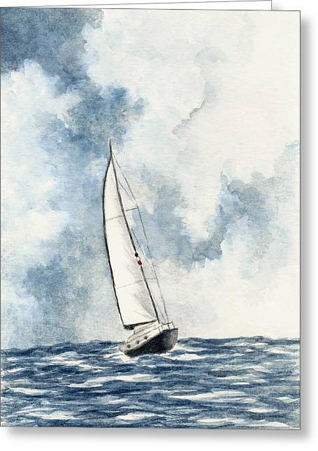 Recently Sold -  - Blue Sailboat Greeting Cards - Sailing Greeting Card by Michael Vigliotti