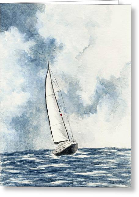Blue Sailboats Greeting Cards - Sailing Greeting Card by Michael Vigliotti