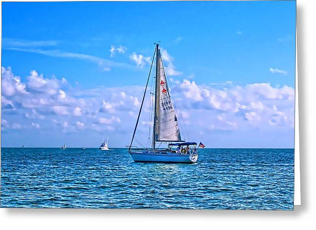 Sailing Boat Greeting Cards - Sailing off of Key Largo Greeting Card by Chris Thaxter