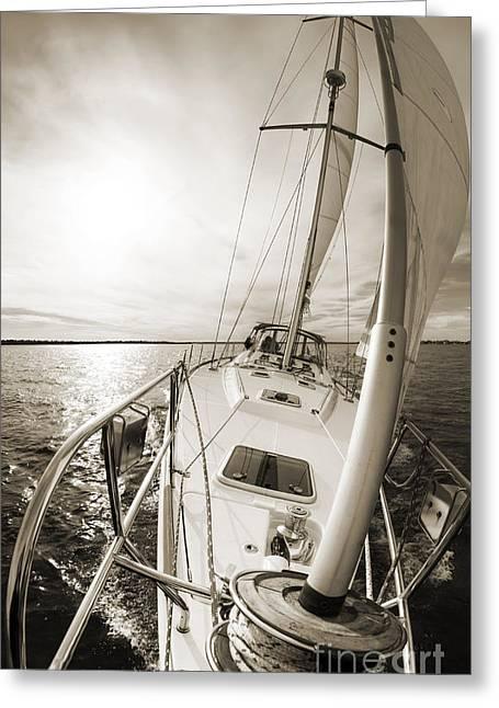 Sailing Yacht Greeting Cards - Sailing on a Beneteau 49 Sailboat Greeting Card by Dustin K Ryan