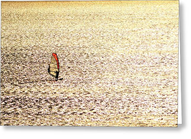 Surf Pyrography Greeting Cards - Sailing on a Golden Sea Greeting Card by Sorin Fota